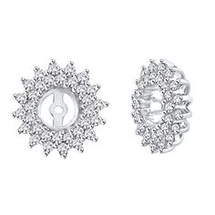 0.24 ct. tw. 10k Gold Double Cluster Earring Jacket with Diamonds and Sapphire G-H,I2-I3