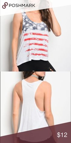 🆕 🇺🇸America Tank Top Stylish top to express your patriotism  100% Rayon Sizes Small, Medium & Large Tops Tank Tops