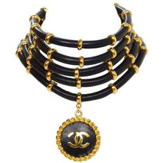 Preowned Chanel  Collectors Vintage '89 Black & Gold Multi-Strand... ($3,000) ❤ liked on Polyvore featuring jewelry, necklaces, black, black pendant necklace, choker necklace, black choker, chanel necklace and gold pendant