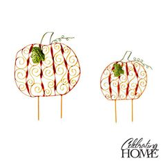 """What better way to decorate your yard for Halloween then these Celebrating Home Pumpkin Stakes!? Buy Both & Save- """"Scrolled Pumpkin Stakes""""  (Metal. 12½ x 18¼"""", 17¼ x 21¾"""")"""