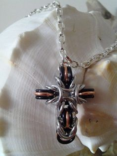Chainmaille Cross Necklace  Mixed Metals by WireWear on Etsy, $15.00