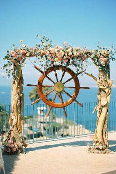 Decoração para cerimônia de casamento na praia