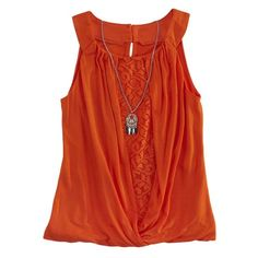 Amywear Girls Front Twist with Necklace Tank Top: Shopko