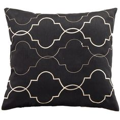 The Great Gatsby Interior Styles - With a modern geometric embroidered pattern the Midtown Filled Cushion Black will add chic style to a modern home with ease. The black base with cream embroidered detail is a cost effective way to add depth and dimension to your living space.