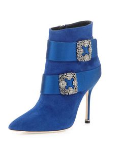 Manolo Blahnik Hangisi Suede Ankle Boot, Electric Blue