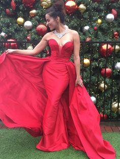Red Ruching Sweetheart A-line Satin Prom Dresses 2017