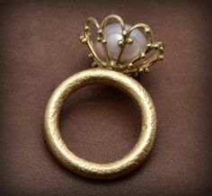 Alexandria Flower Ring - 18k Solid Gold Ring with Pearl and Granulation- Fine Jewelry etsy Kosmimata