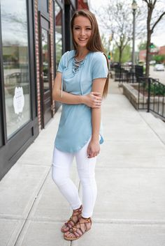 Lace Up Short Sleeve Round Hem Tee – UOIOnline.com: Women's Clothing Boutique