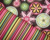Michael Miller Fabric, Carnival Bloom and Cha Cha Stripe, Full Yard Set, 2 Yards Total