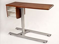 Furniture, Over The Bed Modern Hospital Tray Table With Wooden Top And Stainless Steel Stand With Wheels Plus Storage And Shelves Ideas ~ Bed Tray Table