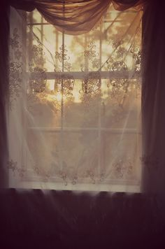 sunrise through window ~ vintage floral curtain House Of The Rising Sun, Floral Curtains, Window Curtains, Through The Window, Morning Light, Light And Shadow, Vintage Floral, Floral Lace, Vintage Style
