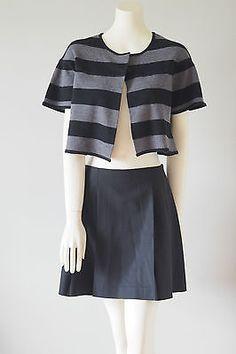 ea693db194e38 BCBG Max Azria Black   Gray Striped Merino Wool Cardigan Bolero Size S Org   158