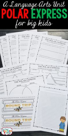 A Polar Express Language Arts Unit for BIG kids! This Polar Express unit includes movie comprehension questions that are rigorous, elements of fiction for the book and movie, writing prompts, and more! A perfect Christmas activity that will keep students learning.