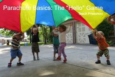 The parachute is a wonderful way to introduce your students on how to work together to achieve a common goal. My students played the hello game as we learned the basics of how to use a parachute. Anytime I introduce the parachute to a Preschool Music Activities, Gross Motor Activities, Movement Activities, Preschool Activities, Teach Preschool, Kindergarten Music, Group Activities, Physical Activities, Music Classroom