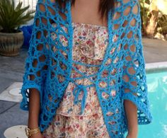 Hot Blue Shrug Free Crochet Pattern