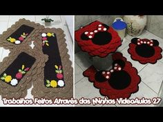 Trabalhos Feitos Através das Minhas VideoAulas 27 - YouTube Bathroom Sets, Totoro, Crochet Projects, Rugs, Mini, Youtube, Home Decorations, Crochet Ornaments, Arts And Crafts