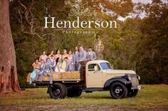 Large bridal party on the back of an old flat bed truck in the australian landscape. https://www.facebook.com/HendersonPhotographics
