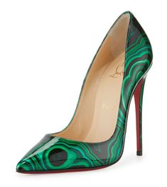 Christian Louboutin OFF!>> Christian Louboutin So Kate Marbled Red Sole Pump Green/Black - Shoes Post High Heel Pumps, Slip On Pumps, Low Heel Shoes, Stilettos, Pointed Toe Pumps, Pumps Heels, Slip On Shoes, Toe Shoes, Louboutin Pumps