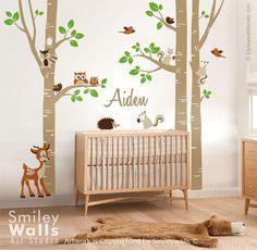 Berken bomen en dieren muur sticker bos dieren door smileywalls