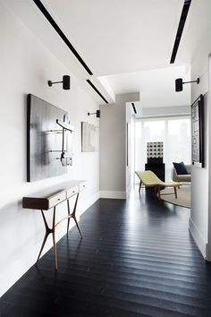 Stunning interiors by Christopher Coleman - black floors, black stripe ceiling, Love the black floor Interior Architecture, Interior And Exterior, Design Entrée, Black Floor, Scandinavian Furniture, Interior Design Inspiration, Interiores Design, Home And Living, Living Spaces