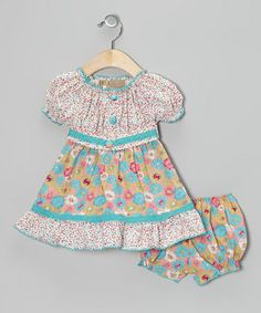 Take a look at this Turquoise Polka Dot Floral Peasant Dress & Bloomers - Infant by Lele Vintage on #zulily today!