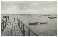 """I love this vintage postcard. Caption reads: """"Crook's Point from Great Kills, Staten Island, N.Y. [wooden pier and rowboats.]"""""""
