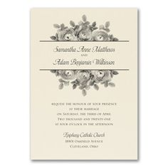 Enchanting roses show off your wording beautifully on this ecru wedding invitation! Guests will love your style. Ivory Wedding Invitations, Wedding Stationery, Invitation Suite, Invites, Four O Clock, Rose Design, Ink Color, Enchanted, Red Roses