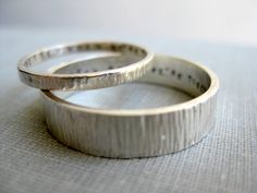 Personalized Couple Rings - His n' Hers Celebration Rings, Wedding Rings, Wood Texture Rings. $114.00, via Etsy.