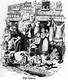 George Cruikshank - Monmouth Street - Sketches by Boz. Victorian London, Victorian Era, History Cartoon, Ww2 Women, London Photos, Old London, Figurative Art, The Past, Old Things