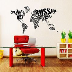 Wall Decals World Map World States Gift Country Words Travel Bedroom Dorm Window Office Vinyl Sticker Wall Decor Murals Wall Decal: Amazon.co.uk: Kitchen & Home