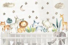Trendy baby boy nursery safari wall stickers 22 Id Jungle Nursery, Nursery Art, Nursery Decor, Wall Stickers Baby Boy, Nursery Wall Stickers, Boy Decor, Safari Animals, Baby Boy Nurseries, Room Themes