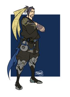 zimpo17:  This was meant to be just a sketch but oops my hand slipped. Been wanting to draw my current favourite character to play in Overwatch, Hanzo, though I'm a terrible shot on him! Heavily referenced from one of his in-game poses (because I was too lazy to make up my own) Even though I did enjoy drawing this silver fox, curse his tattoos!