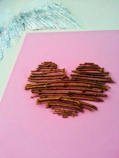 DIY Golden Twig Heart Canvas
