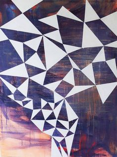 (Untitled, by David Ridley, Saatchi Online) DIY inspiration// create geometric design with tape. Paint BG and remove tape.