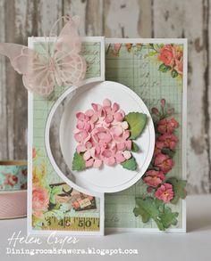 The Dining Room Drawers: Sizzix Flip-its & Elizabeth Craft Designs Hydrangea & Hollyhocks Card