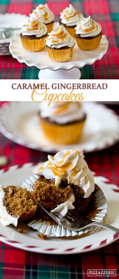 Caramel Gingerbread Cupcakes Recipe! SO good! on Pizzazzerie.com