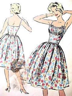 Bombshell Midriff Dress Pattern Perfect Evening Party or Sundress Gathered  Bust Shelf 95736cabb193c
