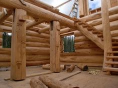Small Log Homes, Small Log Cabin, Rustic Outdoor Spaces, How To Build A Log Cabin, Diy Cabin, Natural Building, Wood Stone, Cabin Homes, Cabins In The Woods