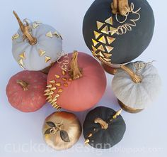 Studded Chalk Paint Pumpkins DIY