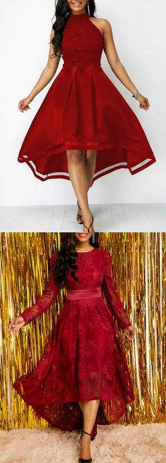Lace Panel Sleeveless Wine Red High Low Dress I Dress, Dress Outfits, Fashion Dresses, Cute Outfits, Elegant Dresses, Pretty Dresses, Formal Dresses, Red High Low Dress, Holiday Outfits