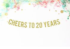 Cheers To 20 Years Glitter Party Banner