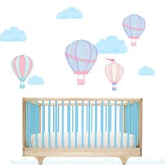 Hot Air Balloon Wall Decal  Reusable Fabric by ToodlesDecalStudio