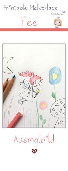 Ein neues Ausmalbild: Die kleine Fee im Blumenwald. Mit Pilzen und Sternen und vielen Blumen - und der guten Fee, natürlich! ;) Eine kostenlose Vorlage zum Download. Viel Spaß beim Malen!