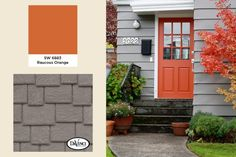 2014 Exterior Color Trends Classic French Gray with Raucous Orange Exterior Color Schemes, Exterior Paint Colors, Exterior House Colors, Exterior Design, Orange Front Doors, Front Door Colors, Front Door Decor, Door Paint Colors, Paint Colors For Home