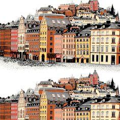 Stockholm fabric from Vallila Interior by Matleena Issakainen How To Make Curtains, Beautiful Buildings, Stockholm, Deco, Interior, Fabric, Travel, Tejido, Tela