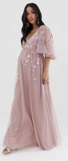 Find the best selection of ASOS DESIGN Maternity flutter sleeve maxi dress in embroidered mesh. Shop today with free delivery and returns (Ts&Cs apply) with ASOS! Cute Baby Shower Dresses, Pink Baby Shower Dress, Maternity Dresses For Baby Shower, Maternity Gowns, Maternity Fashion Dresses, Long Sleeve Maternity Dress, Shower Baby, Maxi Dress With Sleeves, The Dress