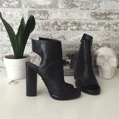 Zara platform boots Never worn with tag. I purchased as is with the missing strap. Always meant to go to fabric store and make leather ties but never did. Would be super easy to do with ribbon or leather. Zara Shoes Ankle Boots & Booties