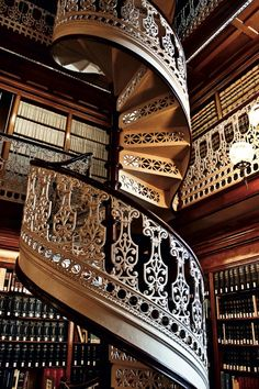 One of the cast-iron spiral staircases in the State Law Library of Iowa in Des Moines (1884).