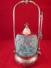 Victorian Pickle Castor & Tongs with Blue Spanish Lace Glass Insert, $395