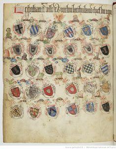 « Registre d'armes » ou armorial d'Auvergne, dédié par le hérault Guillaume REVEL au roi Charles VII. Date d'édition : 1401-1500 Français 22297 Folio 366